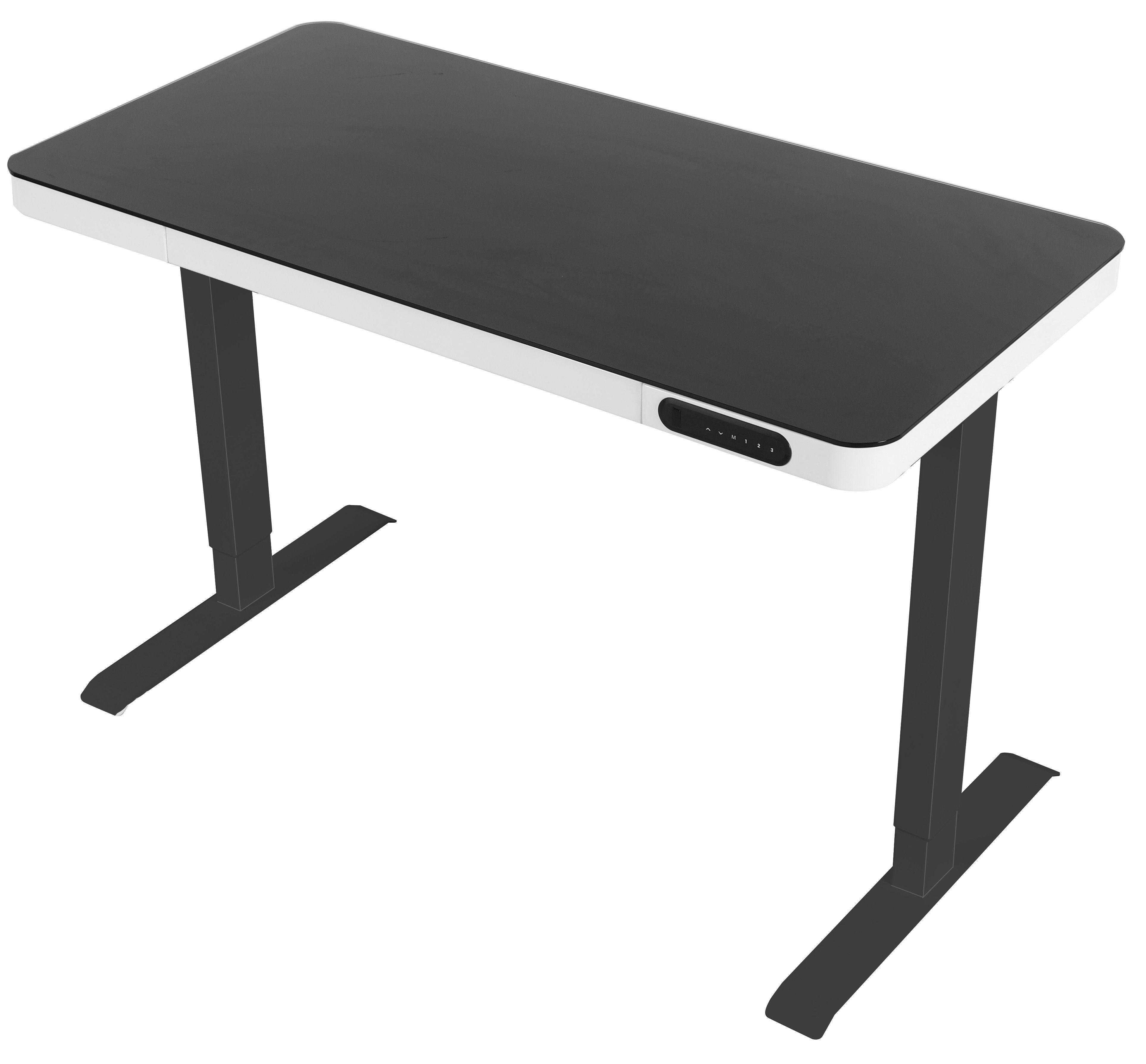 Ergom Home zit-sta bureau voor thuis zwart blad en frame, witte lade