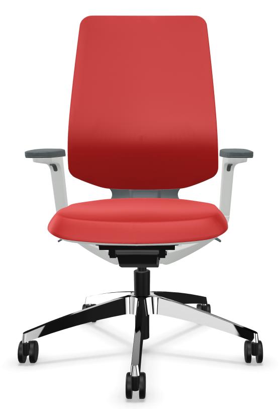 Bureaustoel Sedus se Flex met lichtgrijs frame en rode stoffering