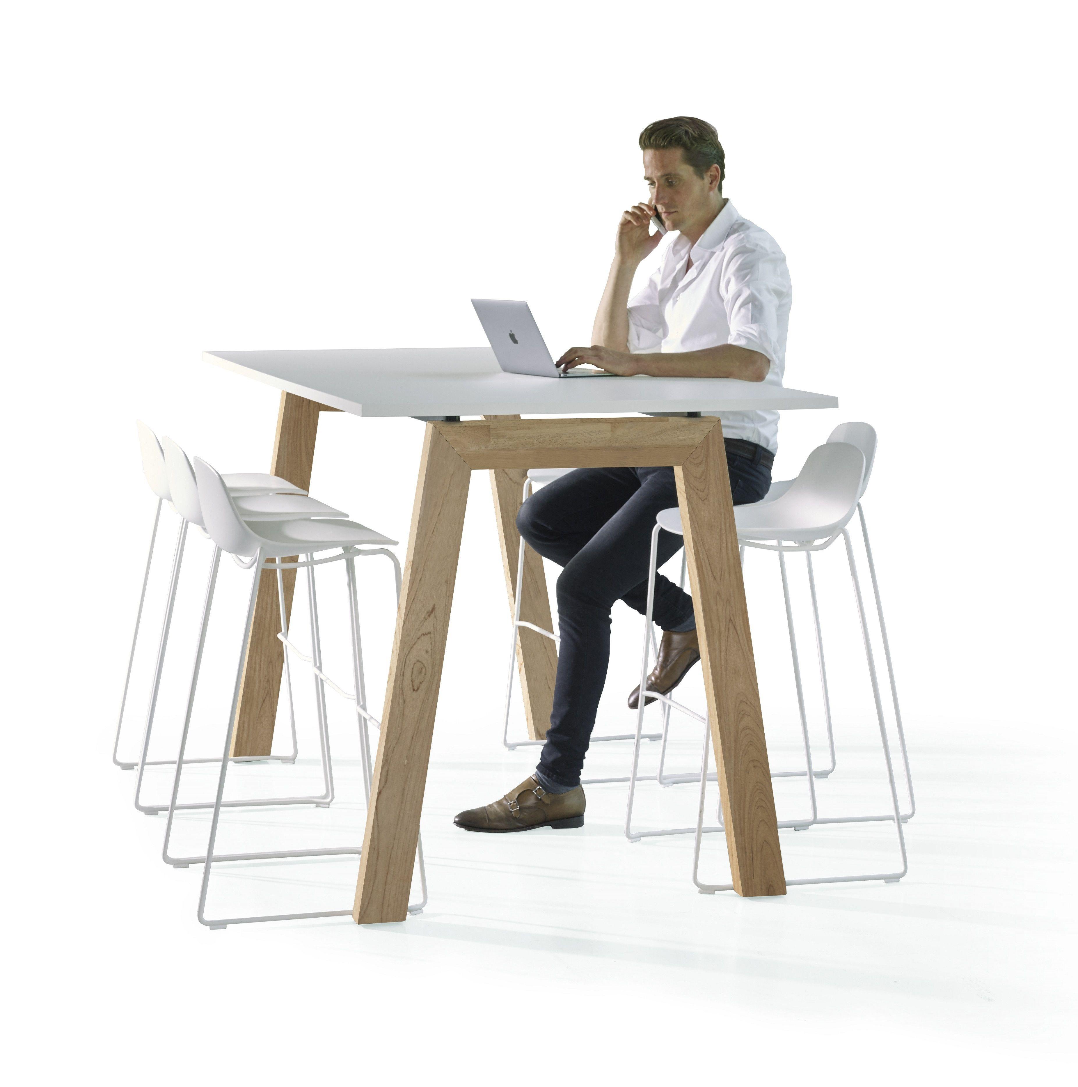 Hybrid hoge vergadertafel voor staand vergaderen