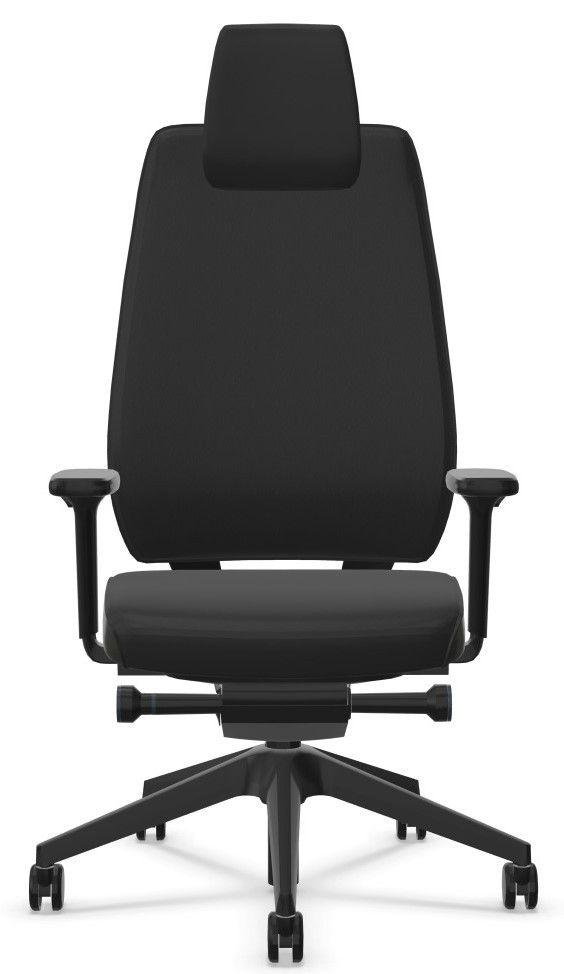 Bureaustoel JOYCEis3 zwart rundnappa leder voorkant