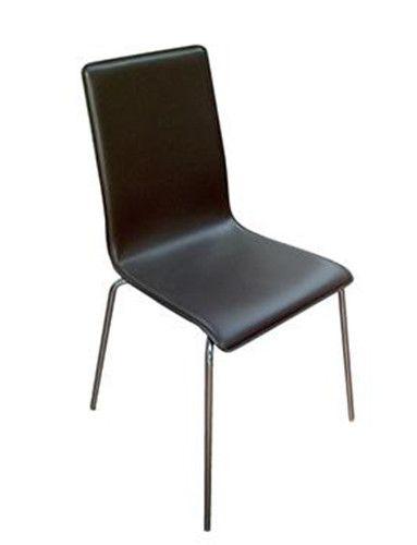 vierpootsstoel Lila met lederen bekleding