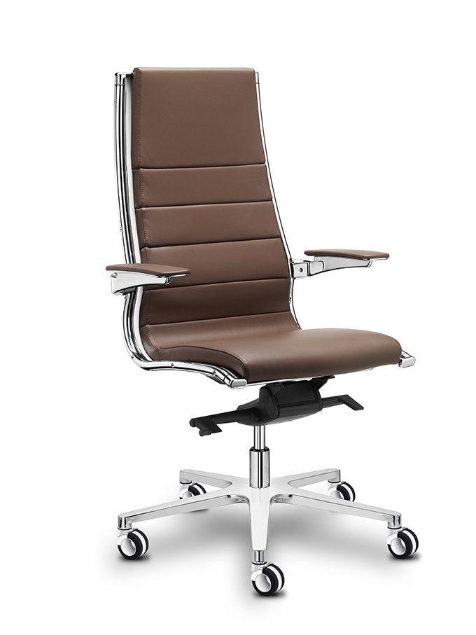 Luxe directiestoel Sitland Sit-It hoge rug bruin leer