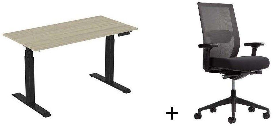 Thuiswerk Zit-sta bureau ERGOM Rise + bureaustoel C02