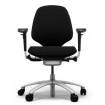 Zwart ergonomische bureaustoel RH Mereo 200 zilveren frame