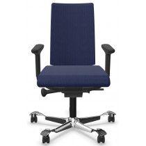 Bureaustoel Hag Creed 6003 stoffering blauw aluminium gepolijst voetkruis