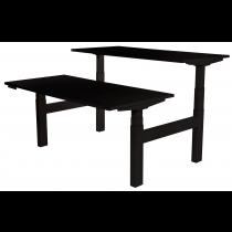 Zit-sta bureau met zwart blad en zwart frame