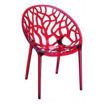 Kantine en terrasstoel Crystal Rood stapelbaar