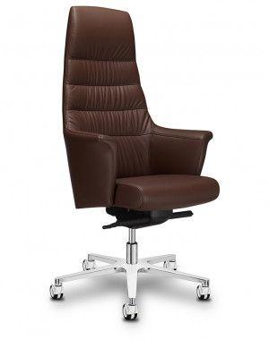 Directie en Boardroom stoel Of Course hoge rug bruin leer